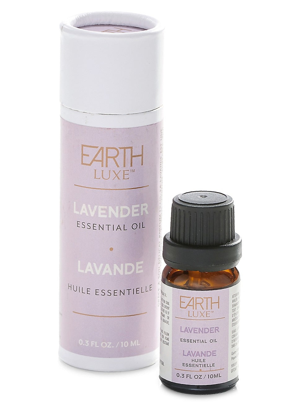 Earth Lux Lavender Essential Bottle and its Round Tube Package Beside It.