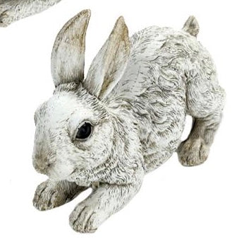 Laying Down White Bunny Figurine For Home Decor