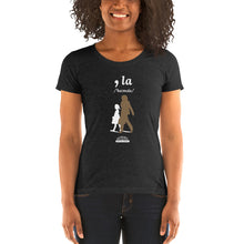 Load image into Gallery viewer, Kamala Ladies' Form-Fitting Short Sleeve T-Shirt (Brown/White Logo)