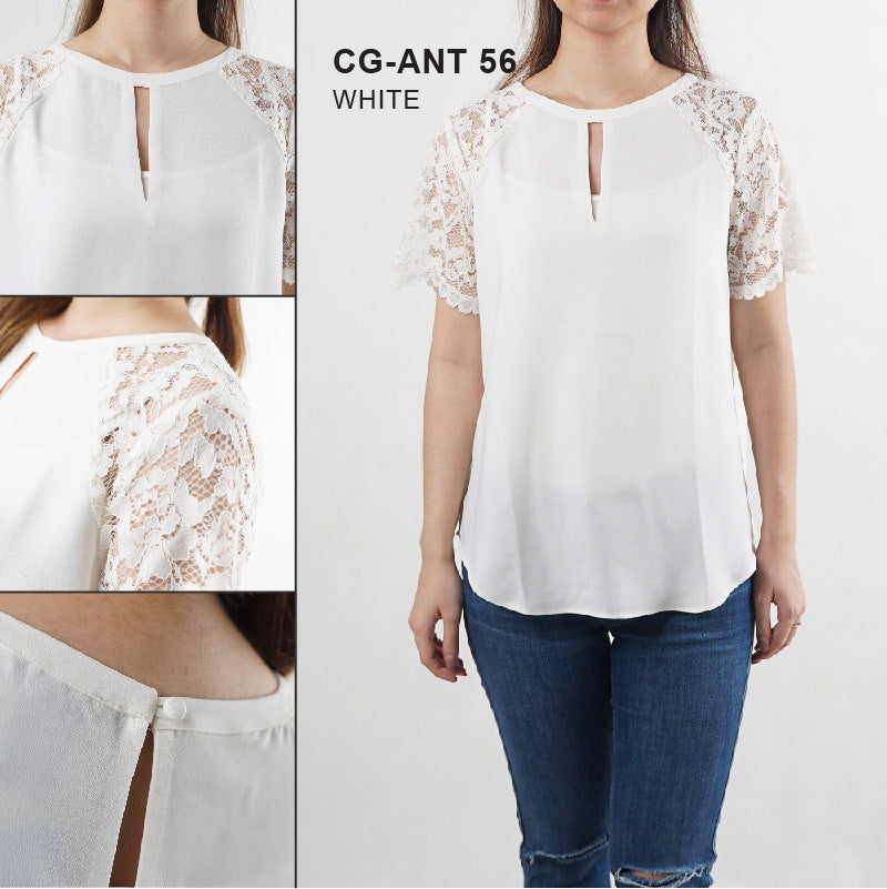 Blouse Wanita - Lace Sleeve Short White Blouse (CG-ANT 56)