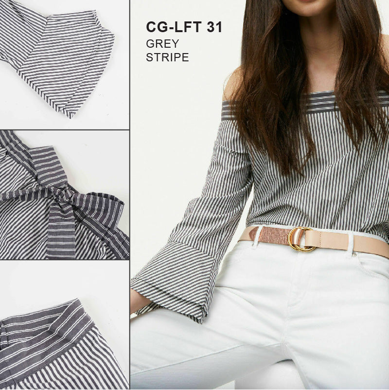 Blouse Wanita - Grey Stripe Kemben Blouse  Long Sleeve (CG-LFT 31)