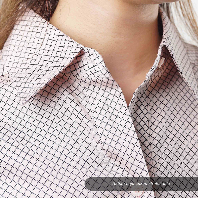 Kemeja wanita - Women criss cross pattern stretch blouse (CG-NYC 05)