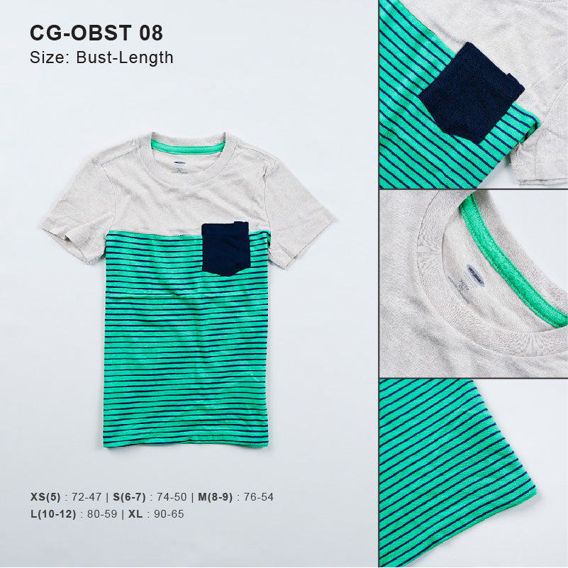 Kaos Anak Laki -Laki - Small Stripe Pocket Boys Tee [CG-OBST 08]