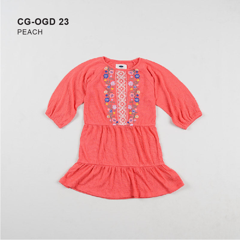 Dress Anak Perempuan - Emboired Puff Sleeve Girls Dress [ CG-OGD 23]