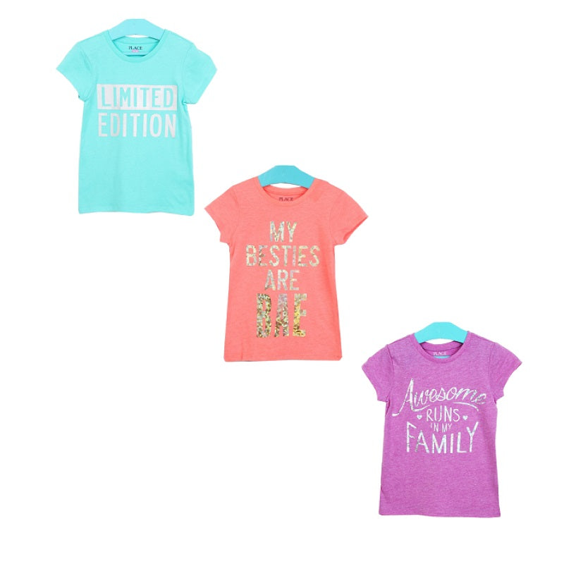 Kaos Anak Perempuan - Girls Cotton Print Tee With Foil Applique (ST-PLACE 10)