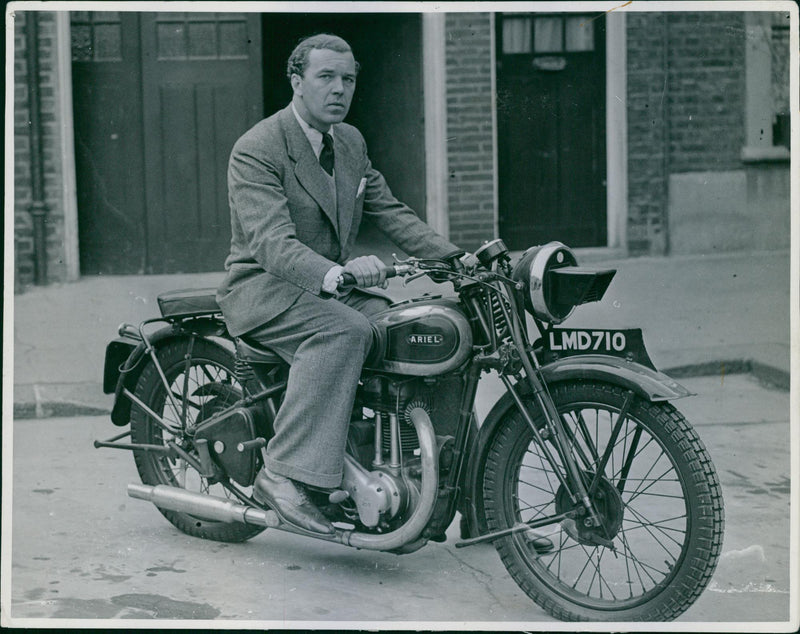 Prince Bertil on his motorcycle in London - Reprint
