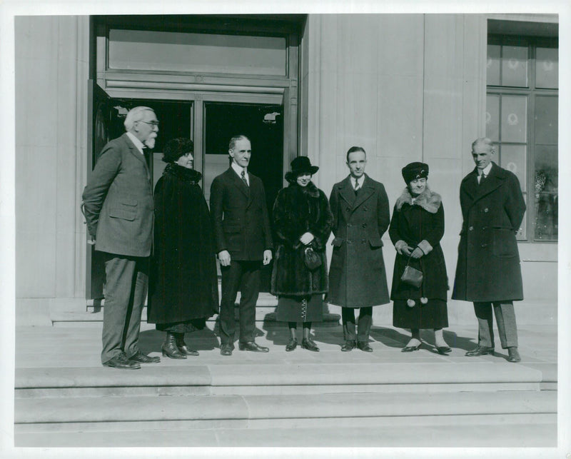 Henry Ford and the wife, son Edsel and wife and Mr. Lealand at Lincoln Plant - Reprint