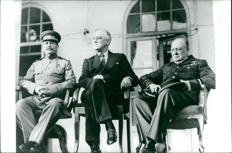 The big three, Joseph Stalin, Franklin Roosevelt and Winston Churchill meet in the Yalta at the Black Sea - Reprint