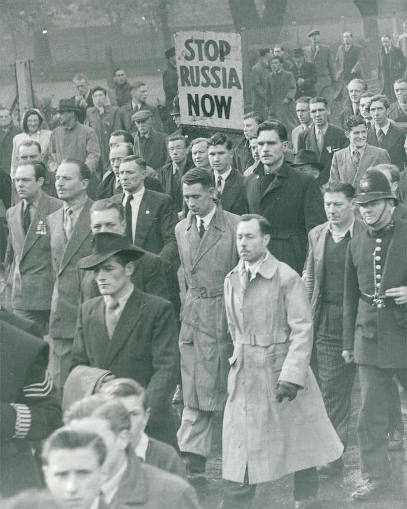 Oswald Mosley with his follower at a demonstration in London - Reprint
