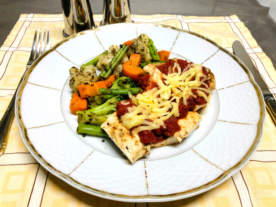 Oven Baked Chicken Parmigiana With Stir Fry Vegetables (GF)