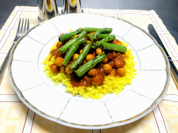 Mild Chickpea Curry With Curried Rice & Green Beans (GF) (DF)