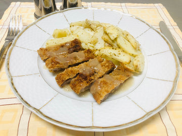 Crumbed Beef Schnitzel with Pan Fried Potatoes (DF)