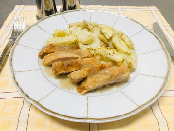 Crumbed Chicken Schnitzel with Pan Fried Potatoes (DF)