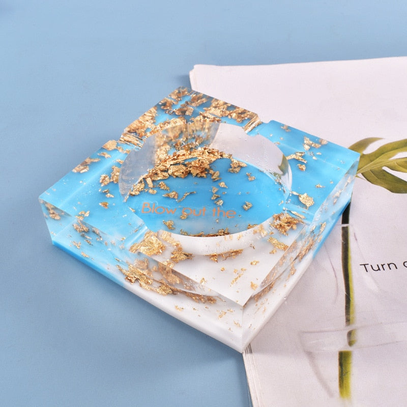 Gold flakes Resin Ash Tray