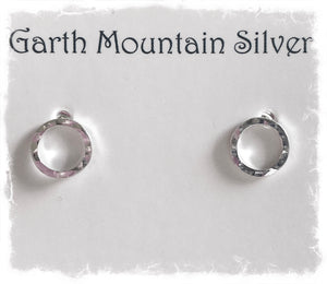Sterling silver handmade circle stud earrings, 9mm diameter, shipping first class signed for.