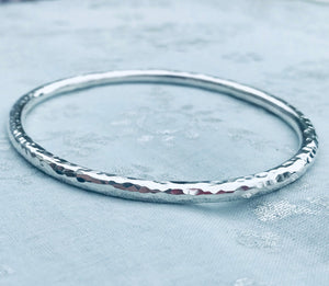 Handmade Hammered Silver Bangle