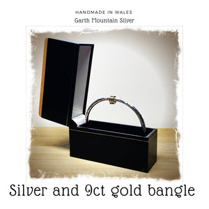 Silver and 9ct Gold Loop Bangle