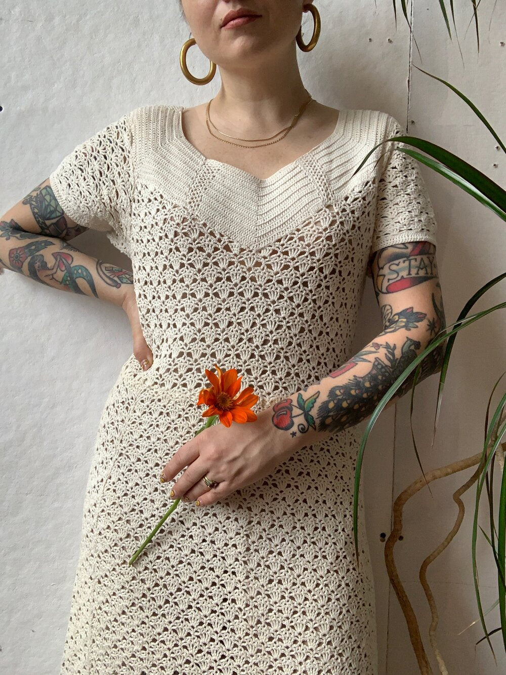 1930s Cream Knit Dress