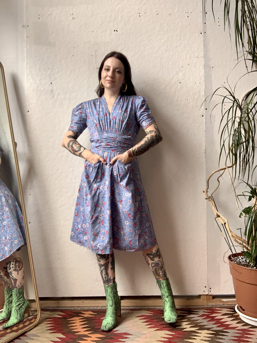 1940s Blue Floral Day Dress
