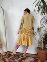 Load image into Gallery viewer, 1920s Yellow Dress with Velvet Flowers