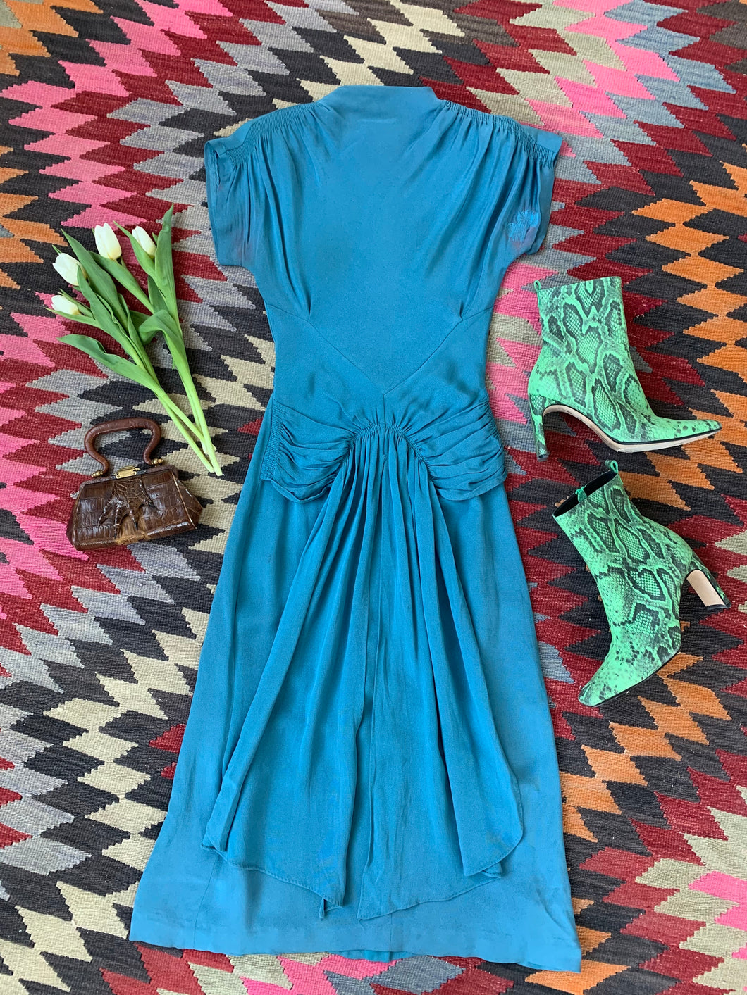 1940s Blue Crepe Dress AS IS