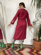 Load image into Gallery viewer, 1930s Raspberry Crepe Studded Dress