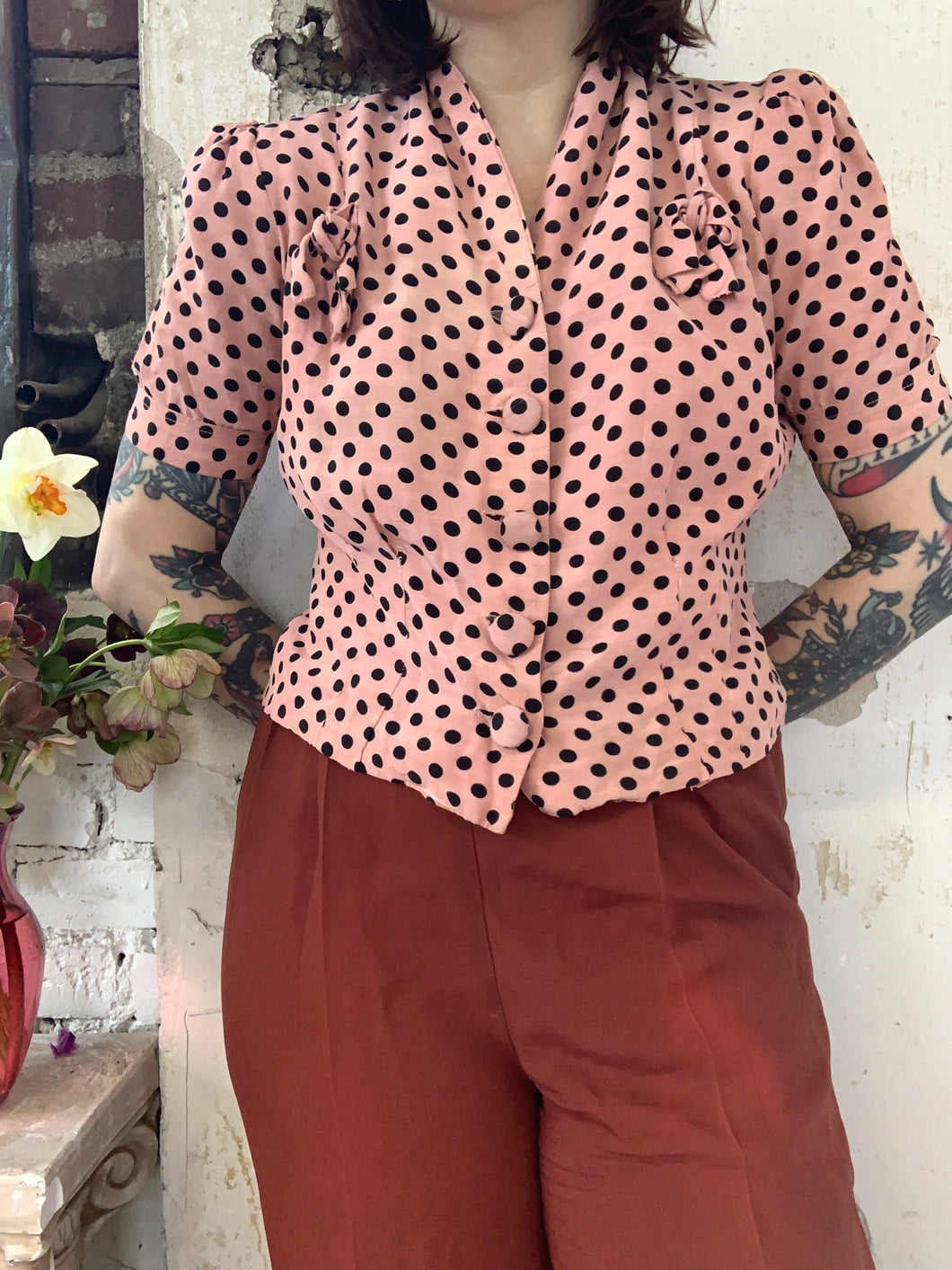 1940s Polka Dot Top