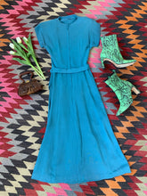 Load image into Gallery viewer, 1940s Blue Crepe Dress AS IS