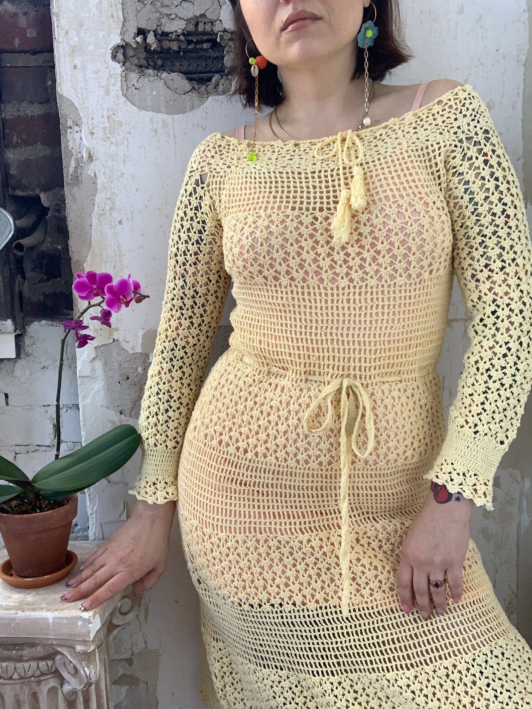 70s does 30s Crochet Dress