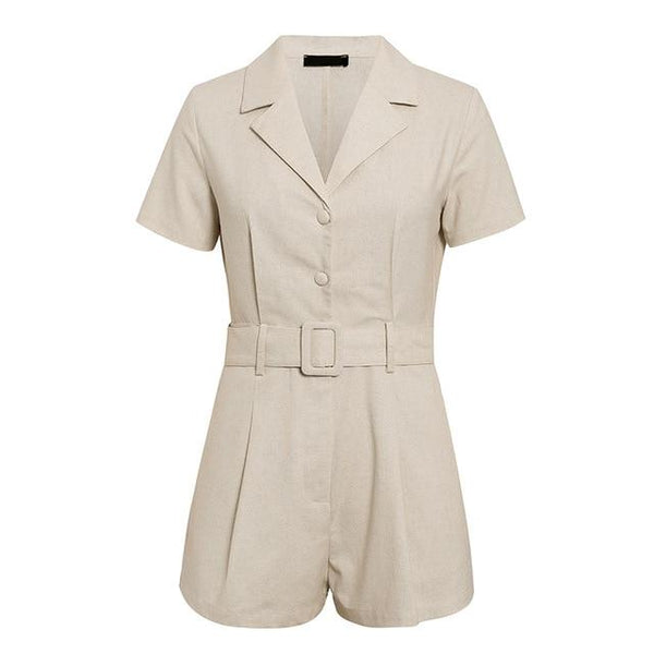 Renita Button Through Playsuit in Stone