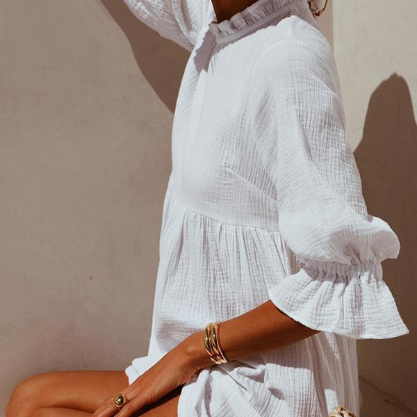 Mary Mini Tunic Dress in White