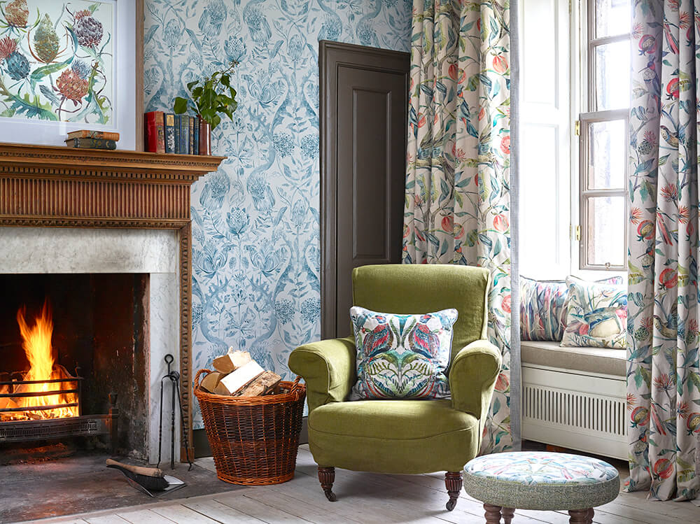 Tiverton collection with olive green armchair, Voyage curtains wallpaper and home accessories