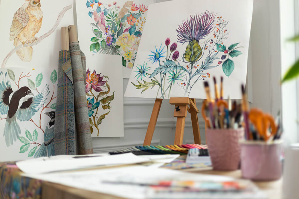 Voyage Maison studio with hand painted artwork and materials