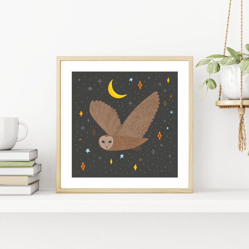 Fleur & Mimi - Irish made Art Prints - The Owl and the Moon