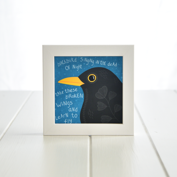 Fleur & Mimi - Irish made Art Print - Broken Wings - Blackbird singing in the dead of the night