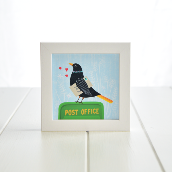 Fleur & Mimi - Irish made Giclée Art Print of a blackbird sitting on an An Post post box
