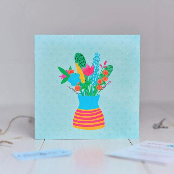 Greeting card made in Ireland by Fleur & Mimi. A bright and cheery bouquet of flowers in a vase. A card for any occasion.
