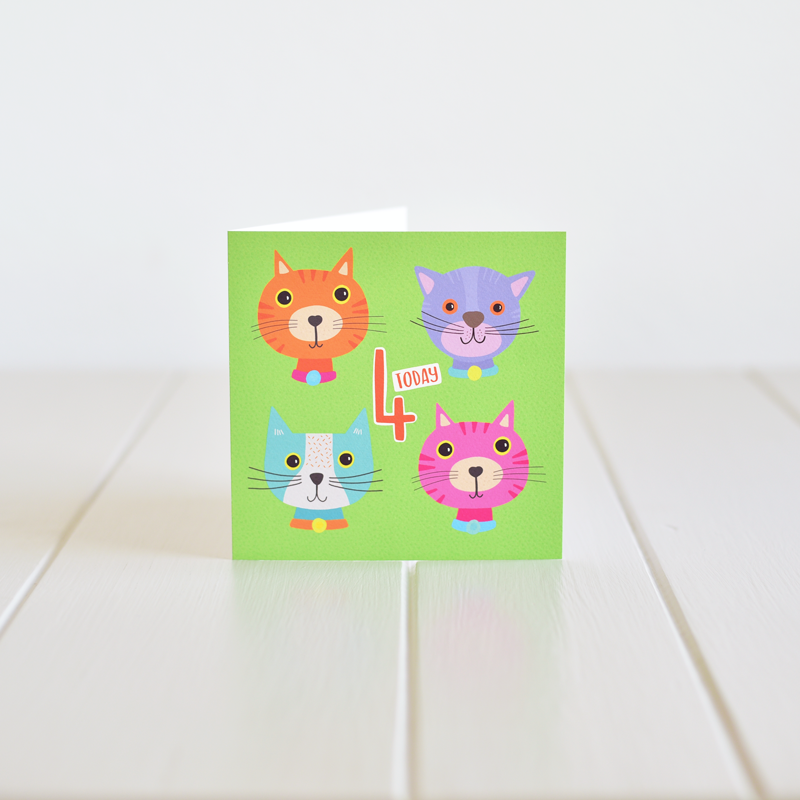 Happy Fourth Birthday - A greeting card by Fleur & Mimi, Co. Tipperary, Ireland