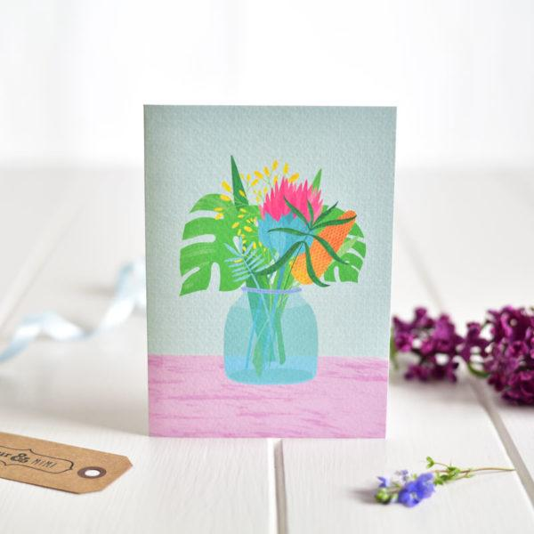 Irish made greeting card by Fleur & Mimi. A lovely bunch of cheery flowers, a card for any occasion