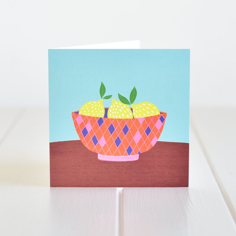 Irish made greeting card. A lovely illustration of lemons in a colourful bowl, a card for any occasion