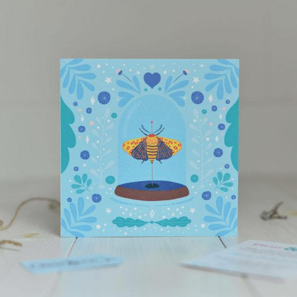 Greeting Card of a beautiful moth under glass made by Fleur & Mimi in Co. Tipperary
