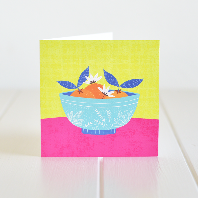A lovely illustration of oranges in a bowl, a card for any occasion. Irish made greeting cards by Fleur & Mimi.