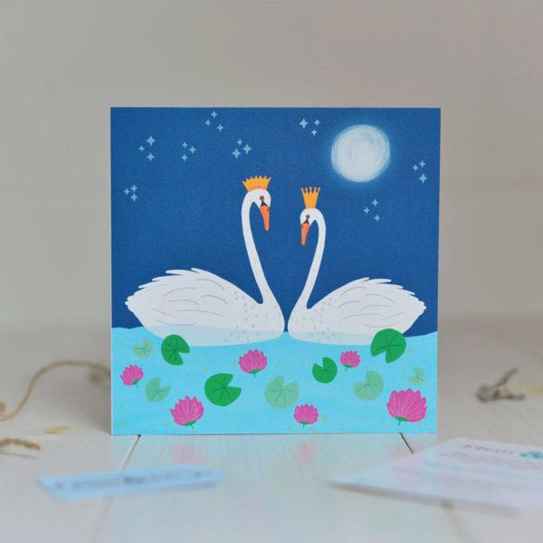 Greeting Card made in Ireland by Fleur & Mimi in Co. Tipperary - A Swan couple facing each other on a lake