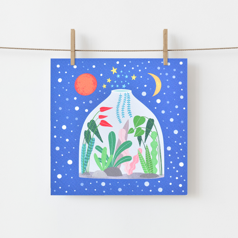 Greeting Card made in Ireland by Fleur & Mimi of a Terrarium filled with beautiful plants