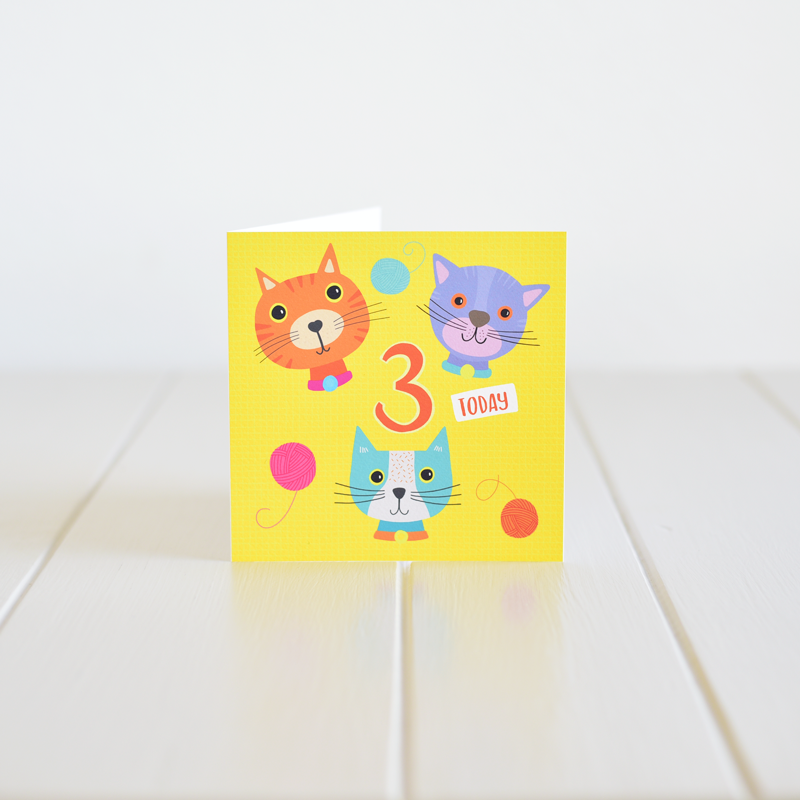 Irish made greeting card for a third birthday by Fleur & Mimi in Co. Tipperary