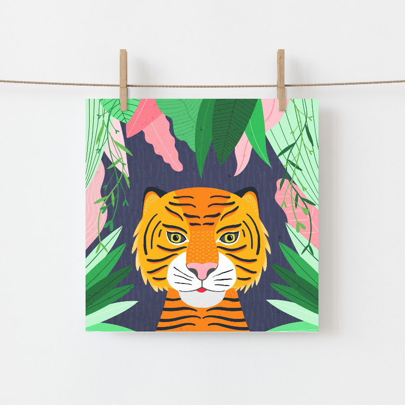 Irish made Greeting Card of a Tiger in lush jungle leaves by Fleur & Mimi, Co. Tipperary