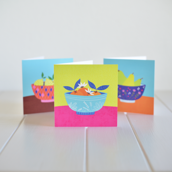A bundle of greeting cards of set will give you 3 colourful greeting cards of different fruits in a bowl. Made in Ireland by Fleur & Mimi.