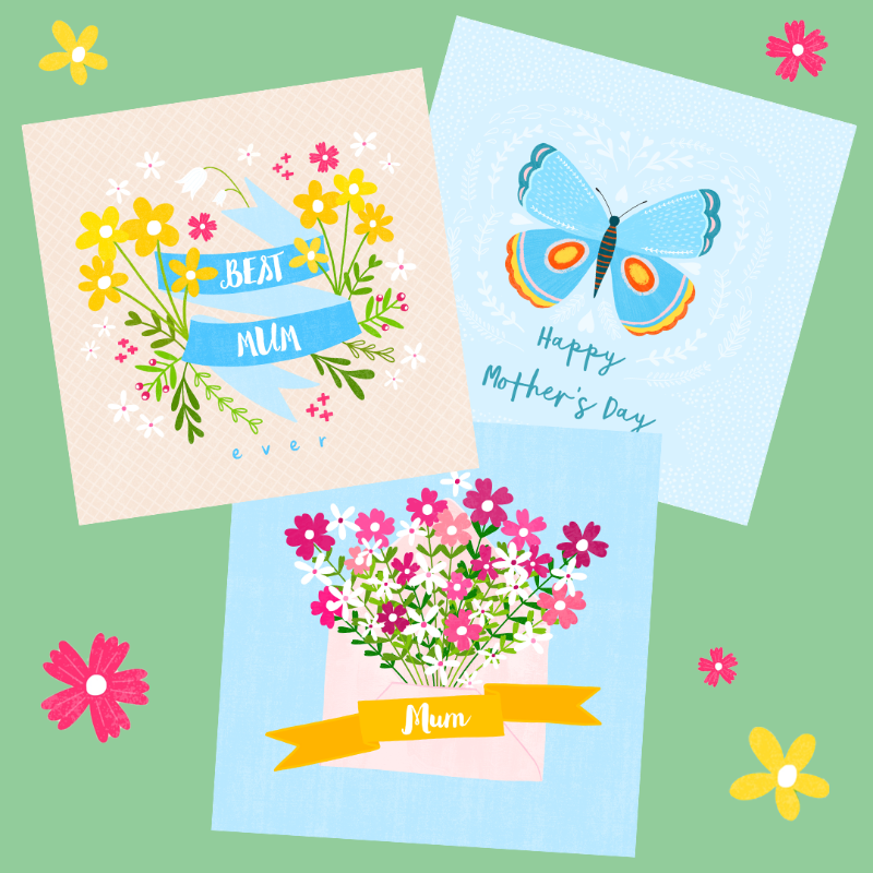 Brighten the day of your beloved Mums, Grannies and Mother-in-laws with this beautiful bundle of greeting cards. Designed in Ireland by Fleur & Mimi.