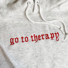 "Load image into Gallery viewer, ""GO TO THERAPY"" HOODIE - ASH"