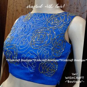 Party Wear Top with floral beads work - Blouse Design 334